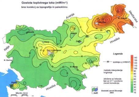 obnovljivi izvori energije-Geoloska karta gustoca protoka topline