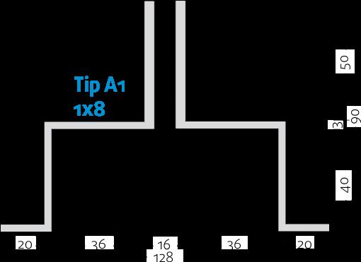 Linijski difuzori - 1x8 - Tip A1 - 8mm