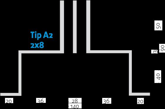Linijski difuzori - 2x8 - Tip A2 - 8mm