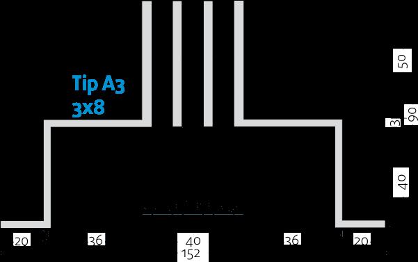 Linijski difuzori - 3x8 - Tip A3 - 8mm