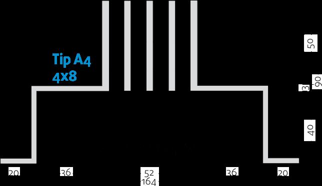 Linijski difuzori - 4x8 - Tip A4 - 8mm