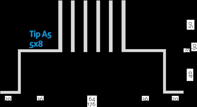 Linijski difuzori - 5x8 - Tip A5 - 8mm